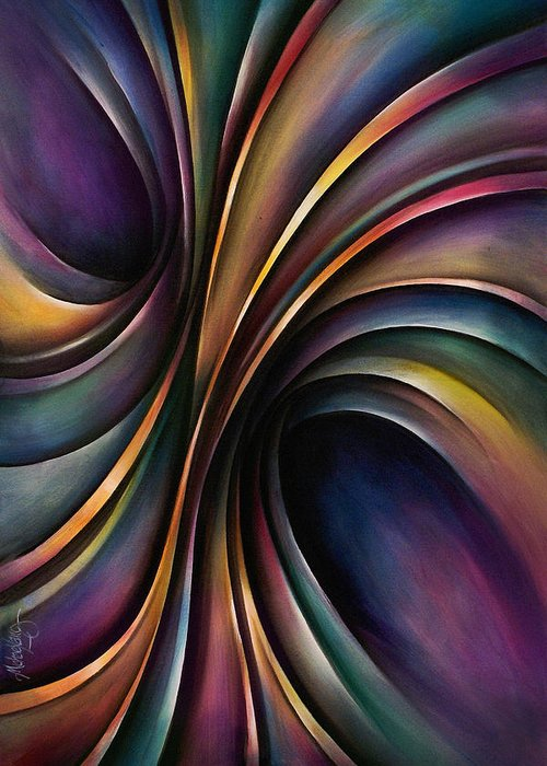 Chromatic Colorful Ribbon Multicolor Greeting Card featuring the painting Abstract Design 55 by Michael Lang