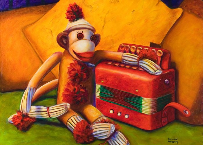 Children Greeting Card featuring the painting Accordion by Shannon Grissom