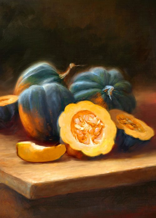 Acorn Squash Greeting Card featuring the painting Acorn Squash by Robert Papp