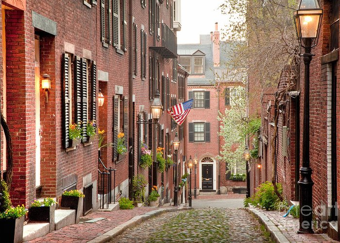 April Greeting Card featuring the photograph Acorn Street by Susan Cole Kelly