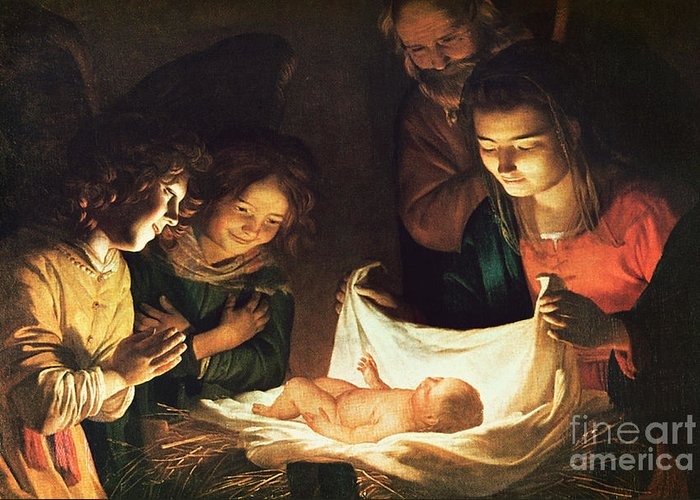 Adoration Of The Baby Greeting Card featuring the painting Adoration Of The Baby by Gerrit van Honthorst