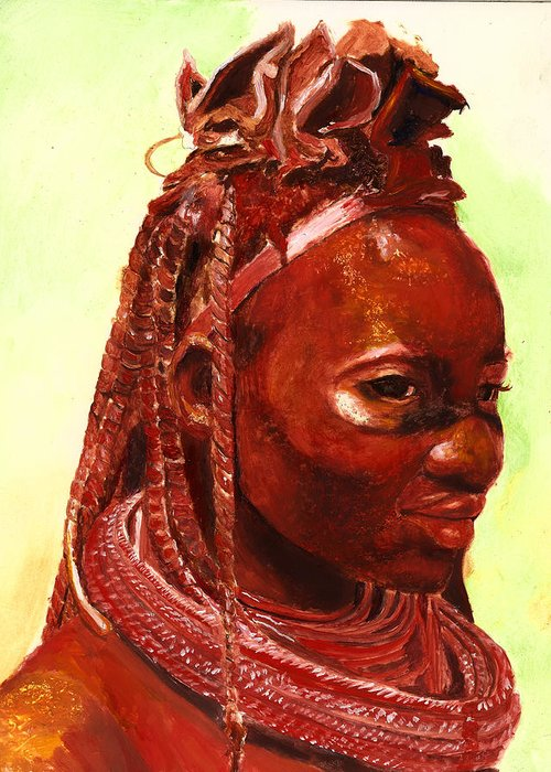 People Portrait Greeting Card featuring the painting African Beauty by Enzie Shahmiri