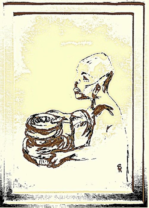 Human Greeting Card featuring the drawing African Boy Brown by Sheri Parris