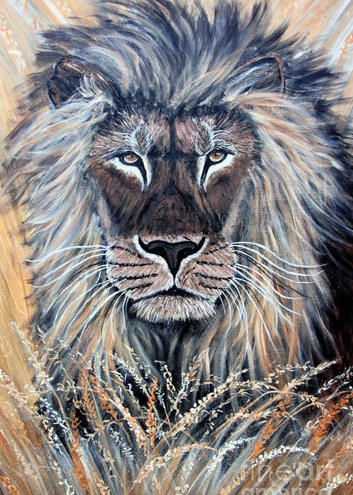Lion Greeting Card featuring the painting African Lion by Nick Gustafson