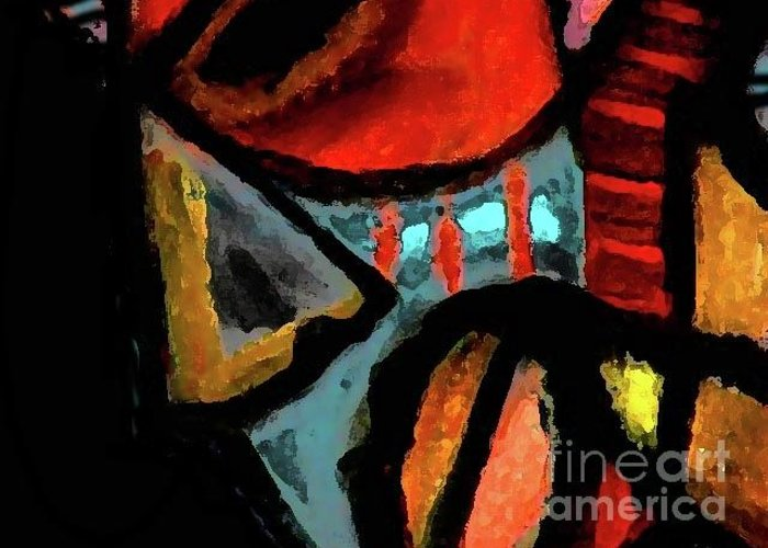 African Art Portrait Greeting Card featuring the painting African Mask by Robert Daniels