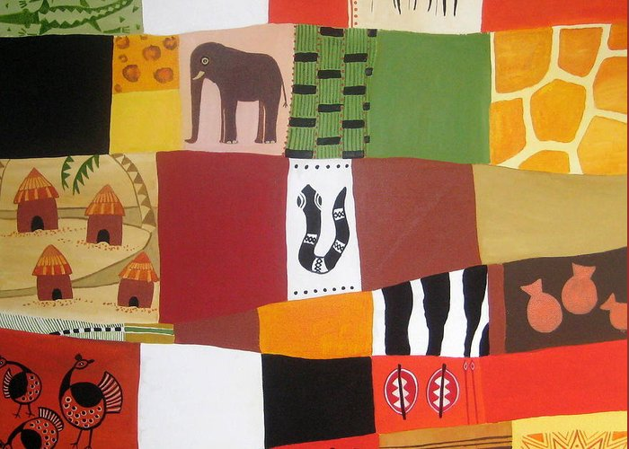 Matrix Greeting Card featuring the painting African Matrix by Pat Barker