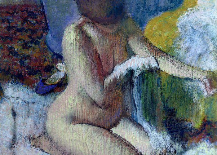 After Greeting Card featuring the painting After The Bath by Edgar Degas