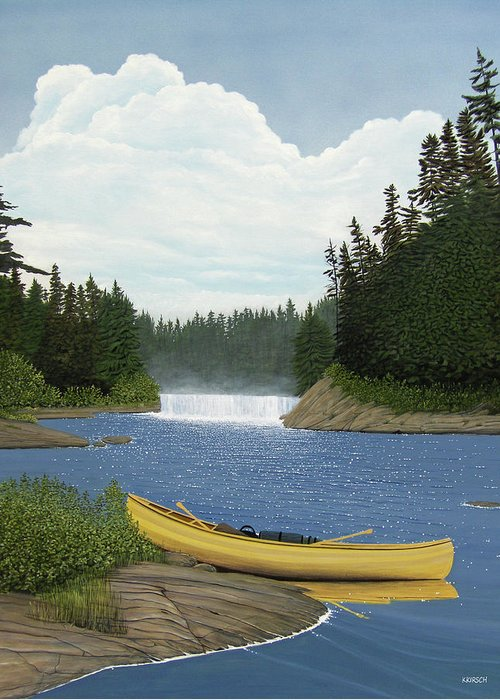 Landscapes Greeting Card featuring the painting After The Rapids by Kenneth M Kirsch