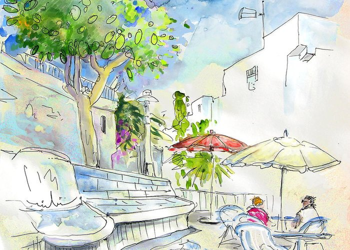 Almeria Greeting Card featuring the painting Agua Amarga 10 by Miki De Goodaboom