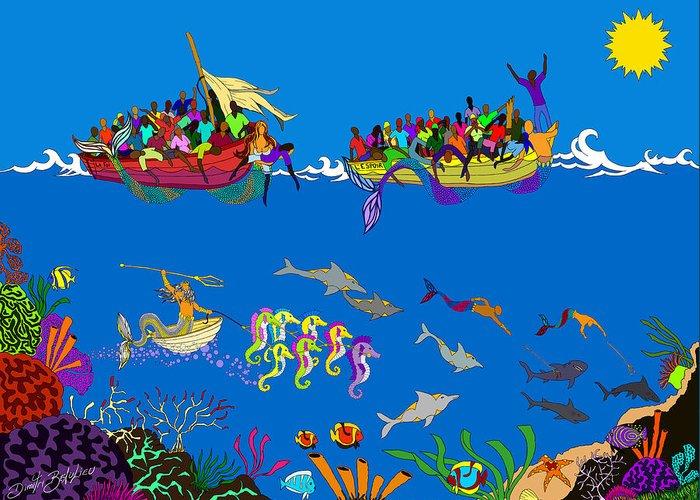 Haitian Art Greeting Card featuring the digital art Agwe by Dimitri Beaulieu