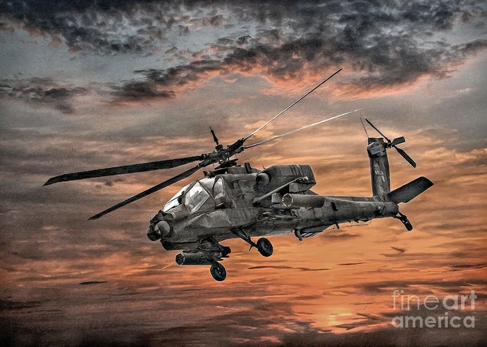 U.s. Army Greeting Card featuring the digital art Ah-64 Apache Attack Helicopter by Randy Steele