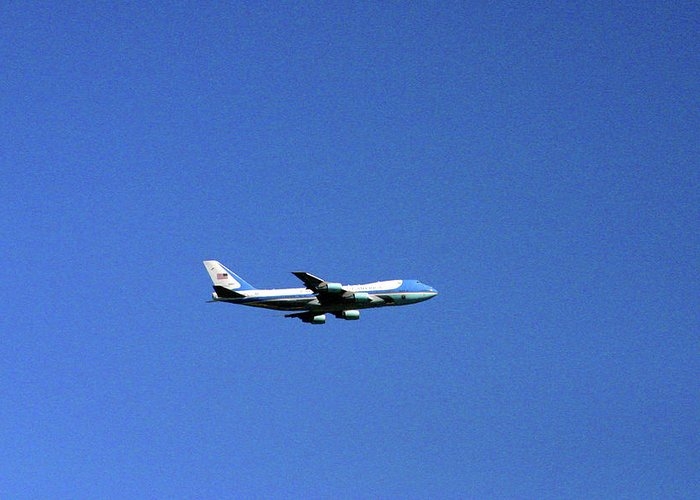 Air Force One Greeting Card featuring the photograph Air Force One In Flight by Duncan Pearson
