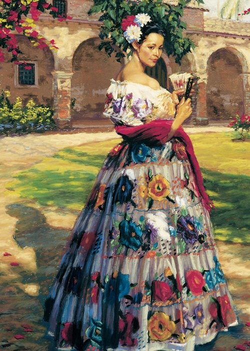 Woman Elaborately Embroidered Mexican Dress. Background Mission San Juan Capistrano. Greeting Card featuring the painting Al Aire Libre by Jean Hildebrant