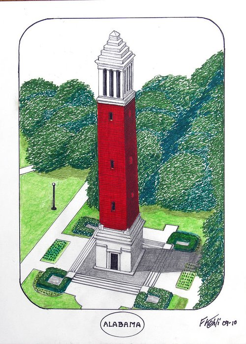Alabama University Buildings Drawings Greeting Card featuring the drawing Alabama by Frederic Kohli