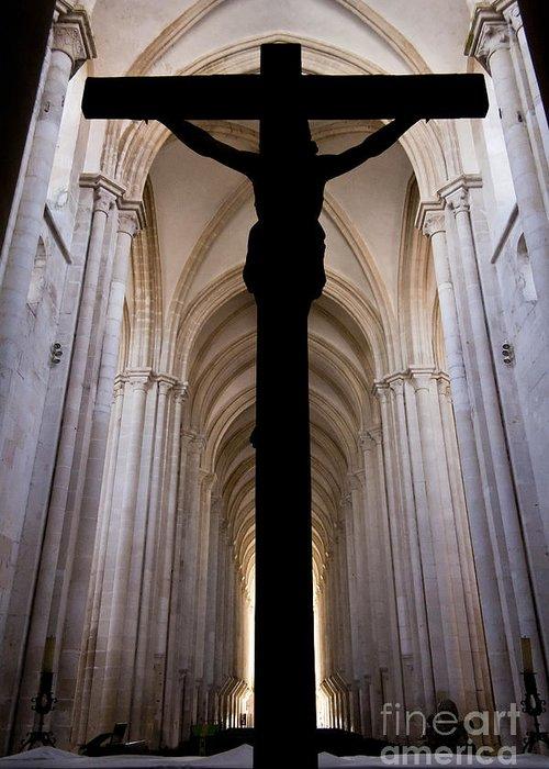 Jesus Greeting Card featuring the photograph Alcobaca Monastery Church Crucifix by Jose Elias - Sofia Pereira