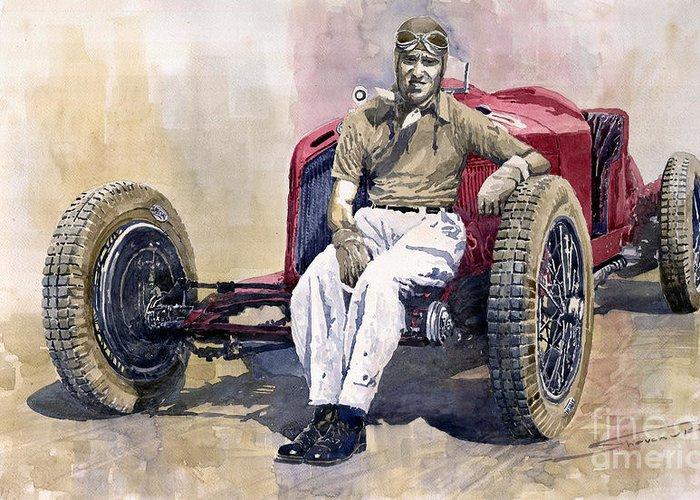 Watercolor Greeting Card featuring the painting Alfa Romeo Monza Tazio Nuvolari 1932 by Yuriy Shevchuk