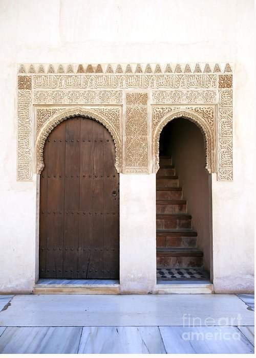 Alhambra Greeting Card featuring the photograph Alhambra Door And Stairs by Jane Rix