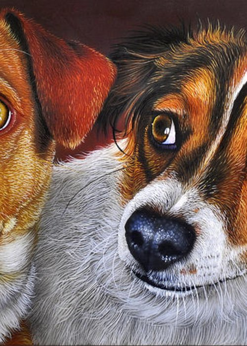 Puppies Greeting Card featuring the painting Ali And Ilu by Jurek Zamoyski