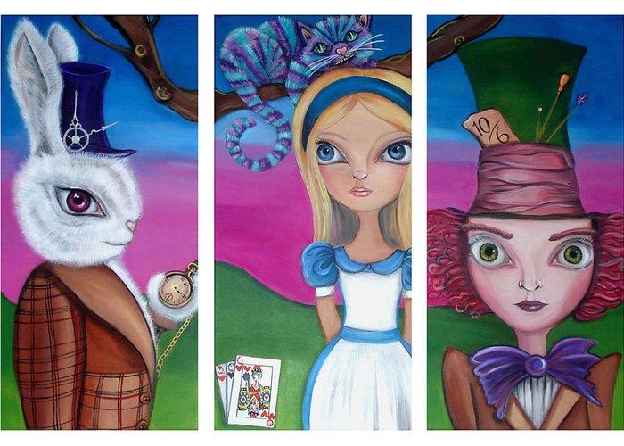 Alice In Wonderland Greeting Card featuring the painting Alice In Wonderland Inspired Triptych by Jaz Higgins