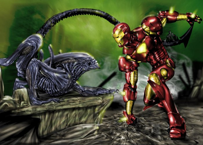 Alien Greeting Card featuring the painting Alien Vs Iron Man by Pete Tapang