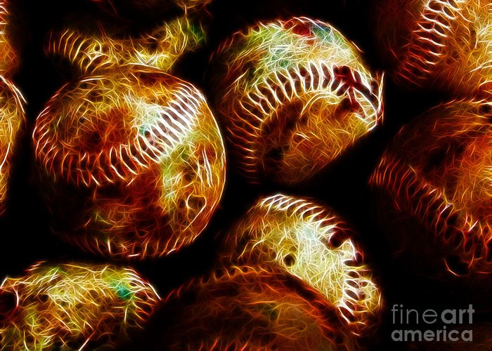 Baseball Greeting Card featuring the photograph All American Pastime - A Pile Of Fastballs - Electric Art by Wingsdomain Art and Photography