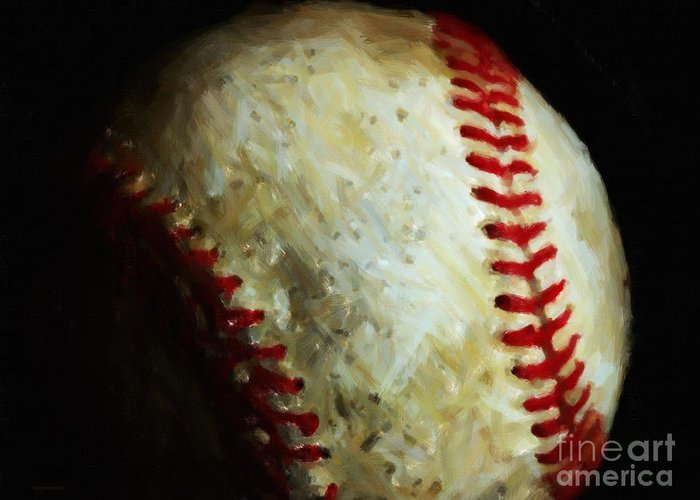 Baseball Greeting Card featuring the photograph All American Pastime - Baseball - Painterly by Wingsdomain Art and Photography