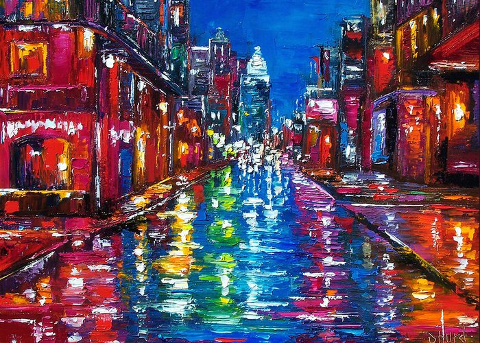Cityscape Greeting Card featuring the painting All Night Long by Debra Hurd
