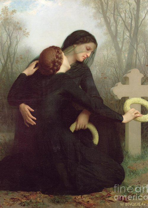 Le Jour Des Morts (all Saints Day) 1859 (oil On Canvas) By William-adolphe Bouguereau (1825-1905) Le Jour Des Morts; Female; Widow; Mourning; Grave; Cemetery; Gravestone; Tombstone; Black Veil; Child; Mother; Daughter; Sadness; Sorrow; Day Of The Dead; 1 November; Grave Greeting Card featuring the painting All Saints Day by William Adolphe Bouguereau