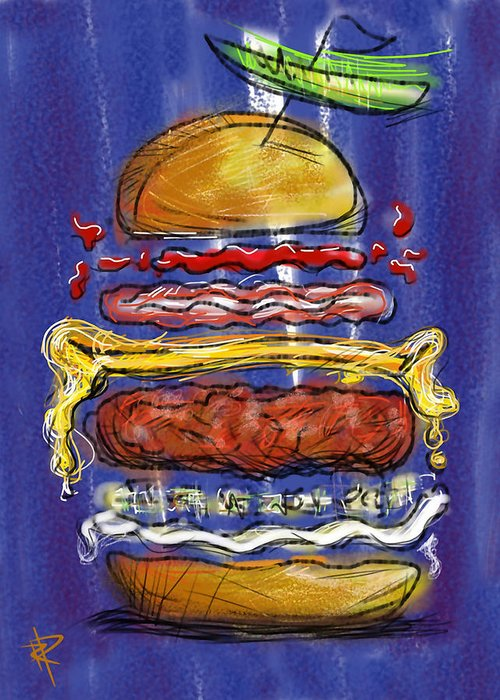 Hamburger Greeting Card featuring the digital art All The Fixings by Russell Pierce