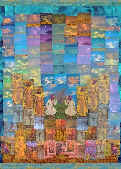 Art Quilt Greeting Card featuring the tapestry - textile All Your Dreams Come True by Roberta Baker