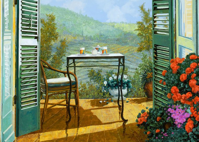 Terrace Greeting Card featuring the painting Alle Dieci Del Mattino by Guido Borelli