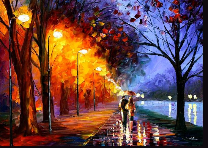 Afremov Greeting Card featuring the painting Alley By The Lake by Leonid Afremov