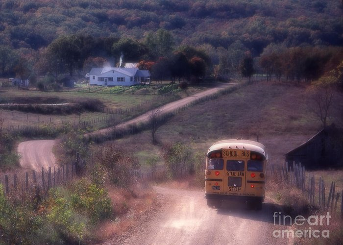Rural School Bus Greeting Card featuring the photograph Almost Home by Garry McMichael
