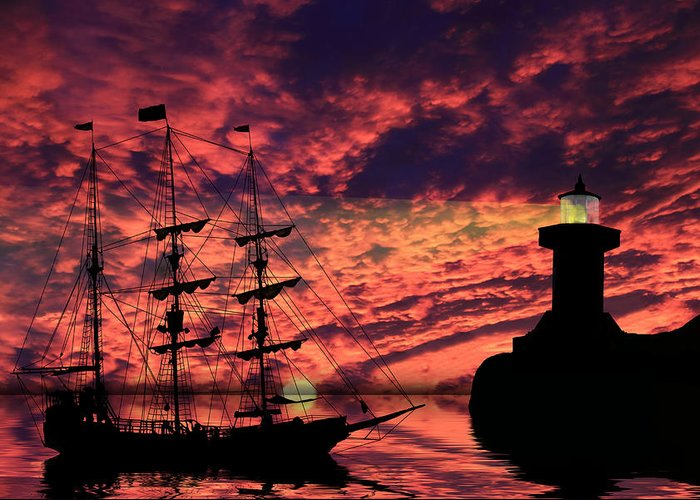 Pirate Ship Greeting Card featuring the photograph Almost Home by Shane Bechler