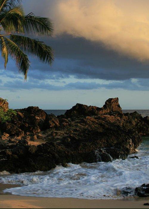 Aloha Greeting Card featuring the photograph Aloha Naau Sunset Paako Beach Honuaula Makena Maui Hawaii by Sharon Mau
