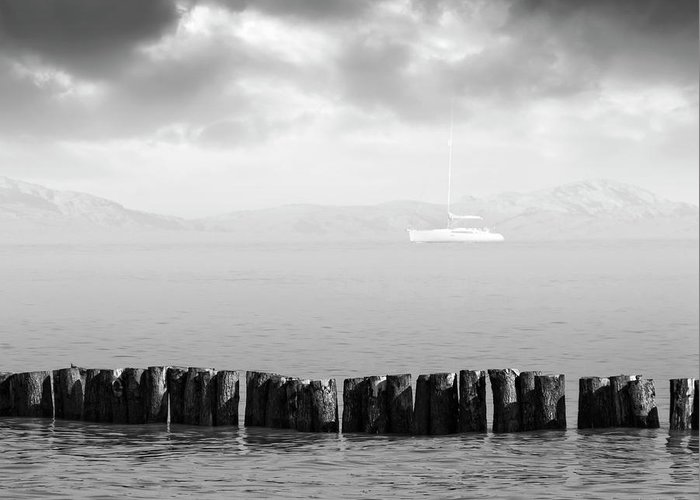Sailboat Greeting Card featuring the photograph Along The Breakwater by Wim Lanclus