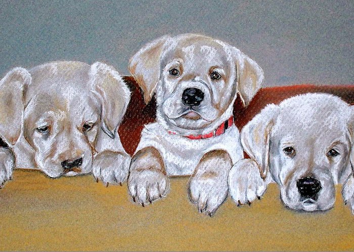 Puppies Greeting Card featuring the pastel Alpha by Crystal Harris-Donnelly
