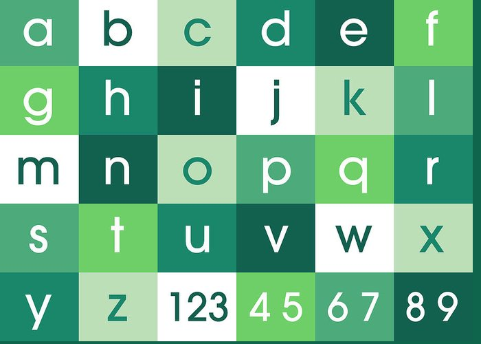 Alphabet Canvas Greeting Card featuring the digital art Alphabet Green by Michael Tompsett