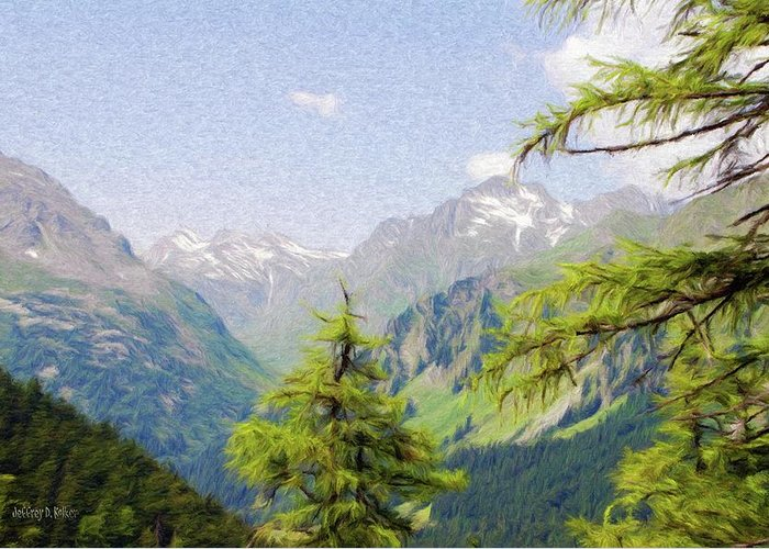 Alpine Greeting Card featuring the painting Alpine Altitude by Jeff Kolker