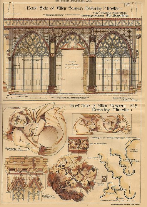 Altar Greeting Card featuring the painting Altar Screen Beverly Minster East Riding Yorkshire England 1883 by Gibbons Sankley