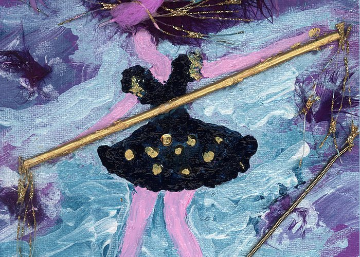 Women Greeting Card featuring the painting Althea Balances Her Life After Chemo by Annette McElhiney