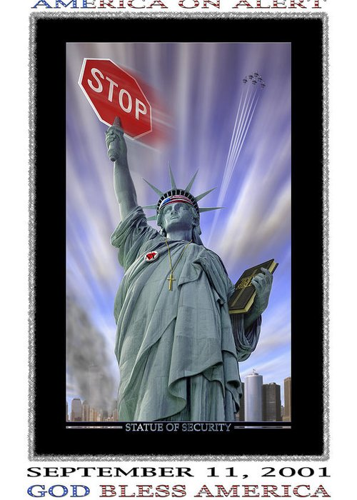 Surrealism Greeting Card featuring the photograph America On Alert II by Mike McGlothlen