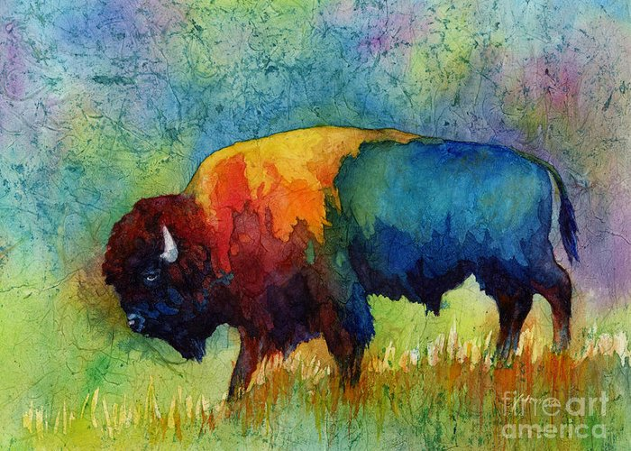 Bison Greeting Card featuring the painting American Buffalo IIi by Hailey E Herrera