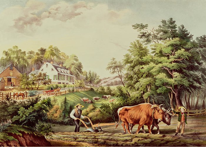 American Greeting Card featuring the painting American Farm Scenes by Currier and Ives