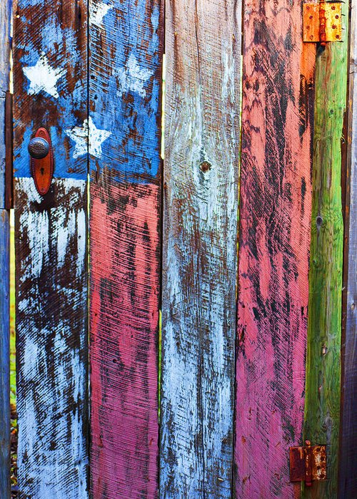 American Flag Gate Greeting Card featuring the photograph American Flag Gate by Garry Gay
