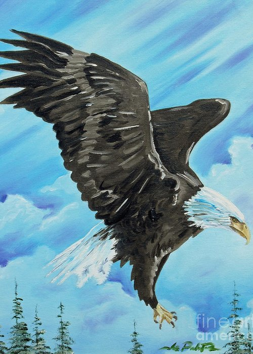 Bald Eagle Greeting Card featuring the painting American Flight by Joseph Palotas