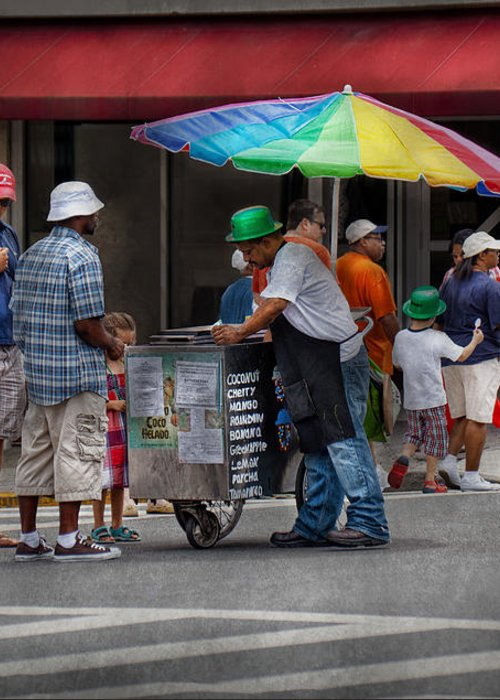 Hdr Greeting Card featuring the photograph Americana - Mountainside Nj - Buying Ices by Mike Savad