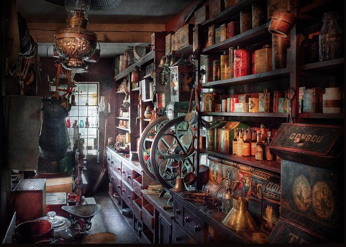 Hdr Greeting Card featuring the photograph Americana - Store - Corner Grocer by Mike Savad