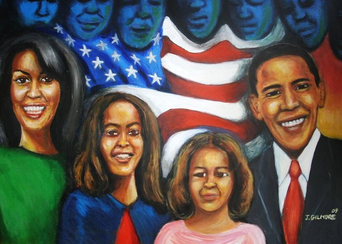 White House Greeting Card featuring the painting America's First Family by Jan Gilmore