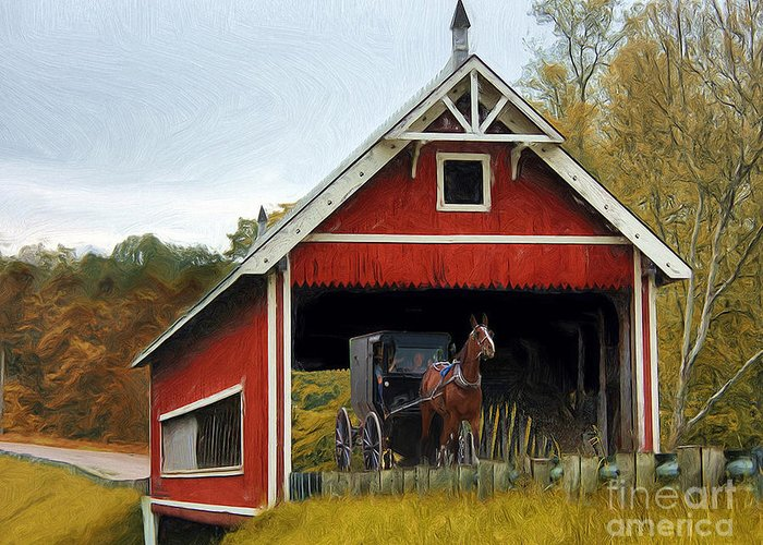 Amish Greeting Card featuring the photograph Amish Era by Tom Griffithe